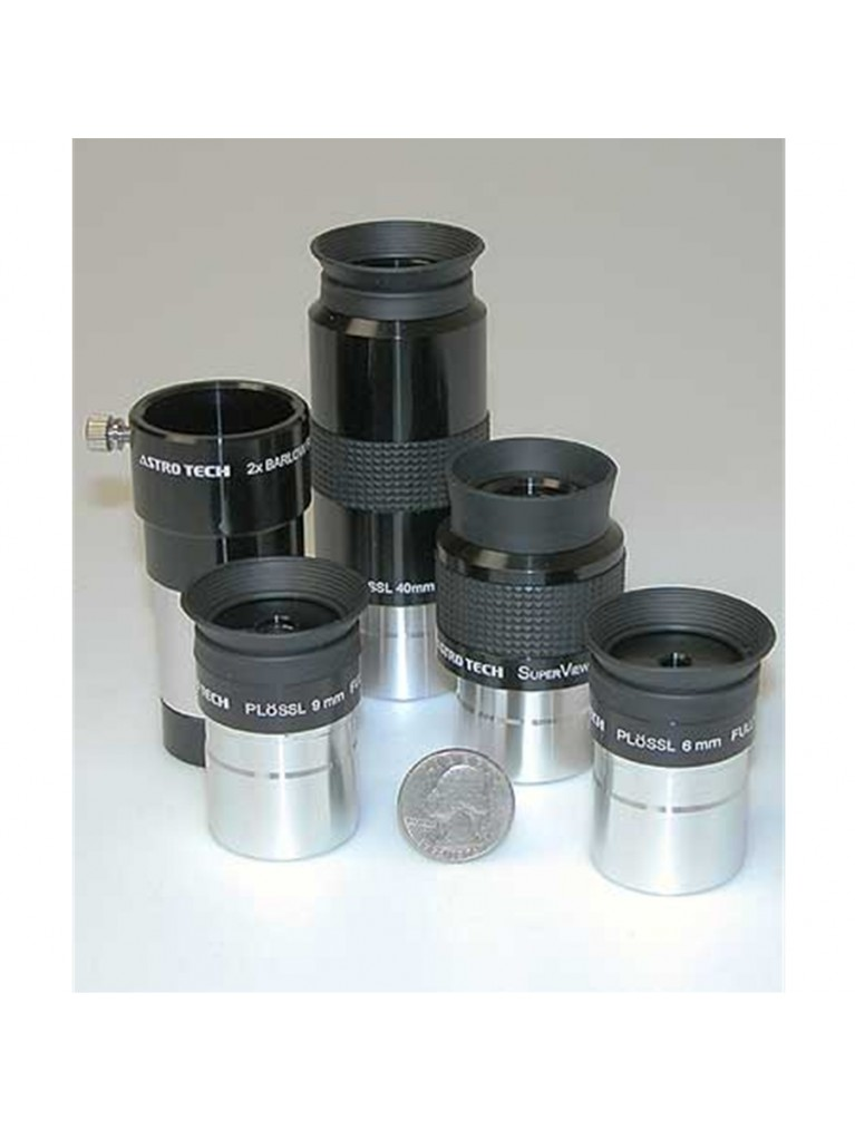 "Close-up of the eyepieces in the Astro-Tech 1.25"" visual accessory kit."