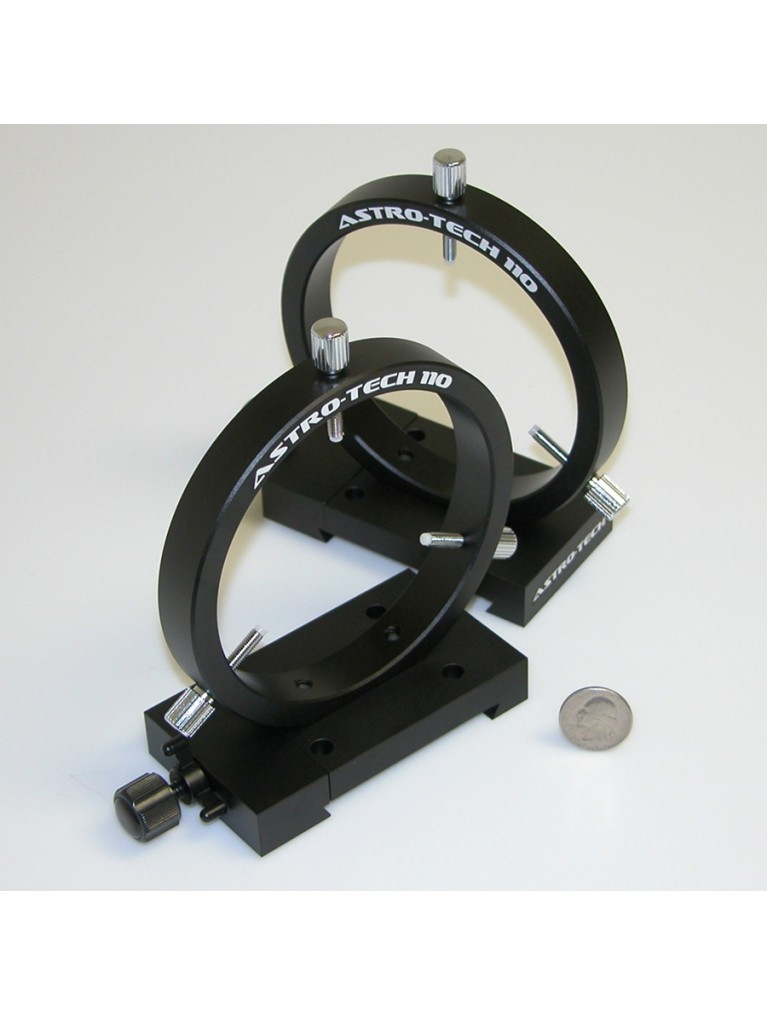 """110mm finder/photoguide ring set for use w/ Losmandy-style """"D-plate"""" dovetail, black"""