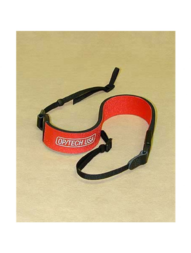 Wide neoprene binocular neck strap, in red