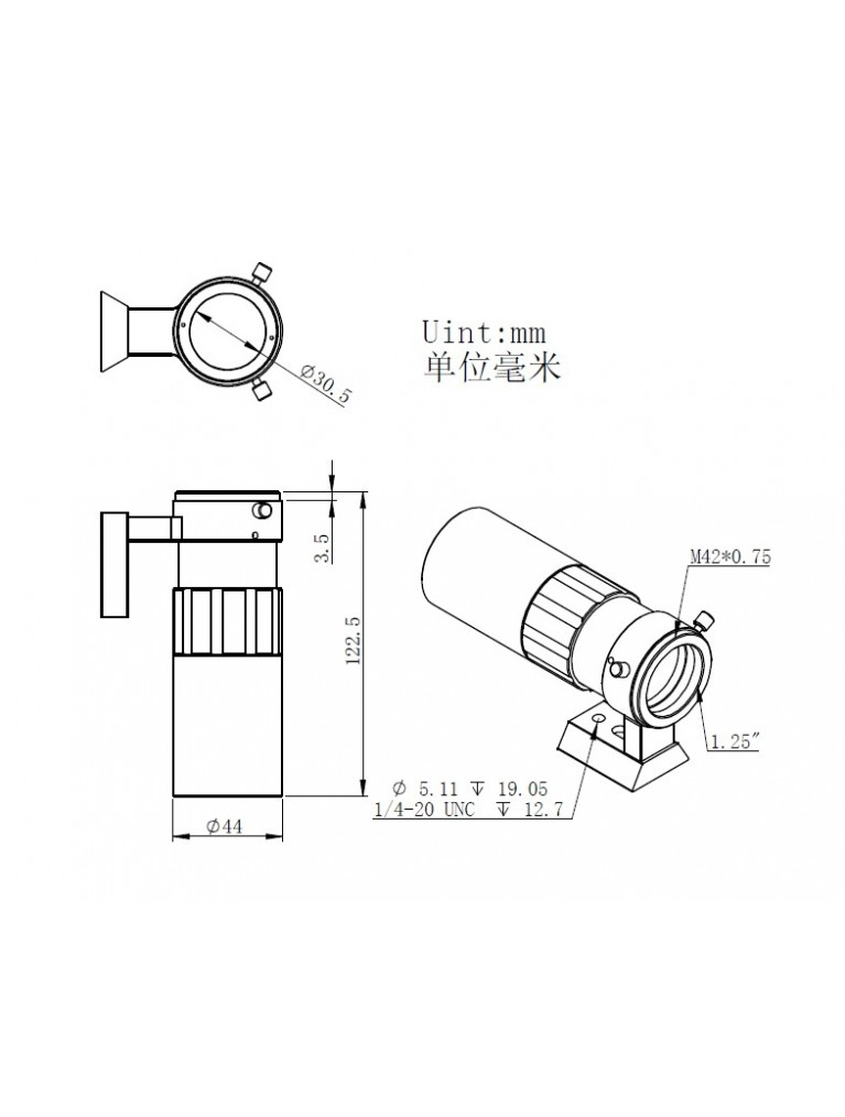 ZWO 30mm f/4 Mini Guide Scope