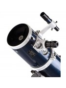Close-up showing finderscope, focuser, secondary mirror holder, tube rings.