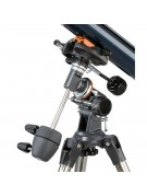 Close-up of the mount showing counterweights, slow motion controls, altitude adjustment for polar alignment, setting circles, and dovetail mount.