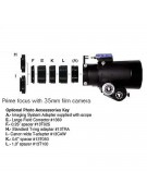 Chart showing the accessories needed for prime focus imaging with a 35mm film camera and a TeleVue IS scope.