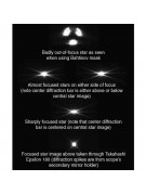 Images showing how the Bahtinov mask changes a star's diffraction pattern as the focus changes.