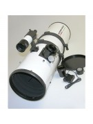 The Astro-Tech AT8IN, shown with all supplied accessories, and also showing the distance the body is extended in front of the focuser to act as a contrast-enhancing lens shade.