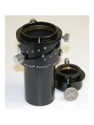 """Close-up of the Paracorr Type 2 tunable top mechanism and 1.25"""" and 2"""" compression ring eyepiece adapters."""