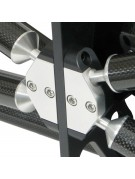 Close-up of center support ring truss tube ball and socket mounts.