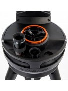 Close-up of the Celestron NexStar Evolution 9 drive base handles and eyepiece tray.