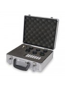 All accessory kit items packed in precut foam cutouts of standard aluminum-clad carrying case.