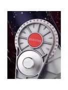 Closeup of engraved setting circle and declination lock knob.