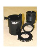 """Image showing all components of a typical digital adapter: 2"""" o.d. Radian tube; optional 1.25"""" eyepiece with rubber eyeguard removed, and ring adapter."""